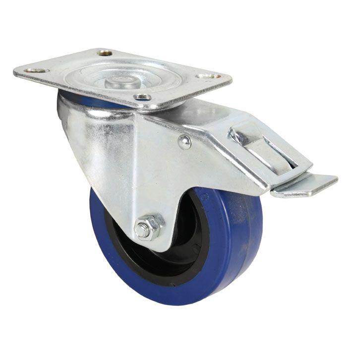 adam-hall-372191-lenkrolle-100-mm-mit-blauem-rad-und-feststeller