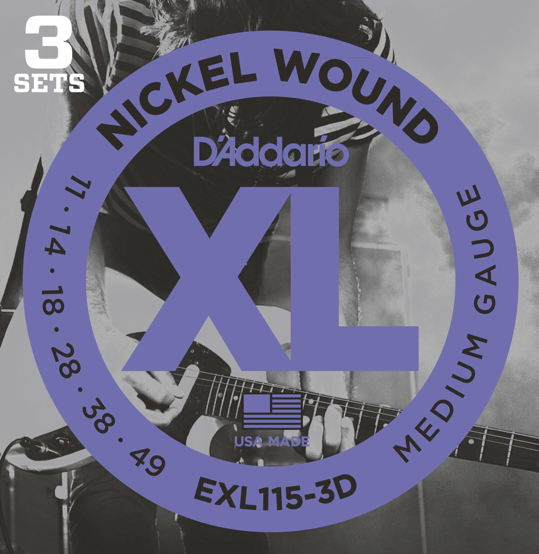 Daddario EXL115-3D Saitensatz für E-Gitarre 3er Pack